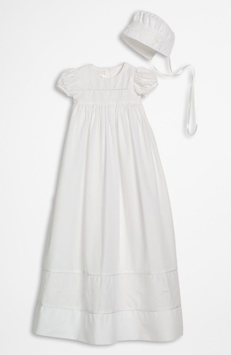 Christening Gown Baptism Gown with Hand Embroidery, Girls Cotton Dress 34″