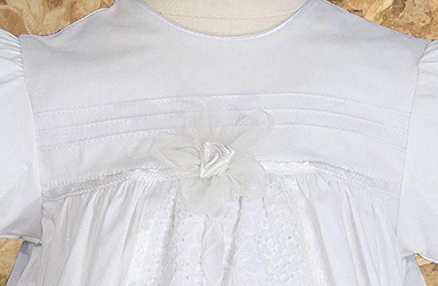 "Girls Split Panel Cotton Dress Christening Gown Baptism Gown, 25"" Length"