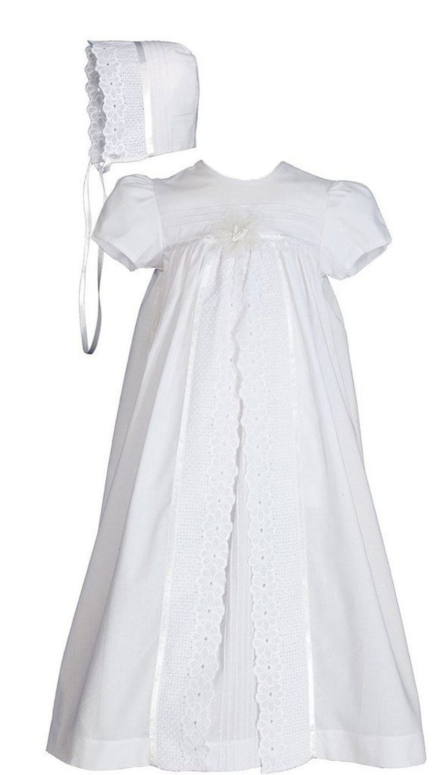 Girls 25″ Split Panel Cotton Dress Christening Gown Baptism Gown