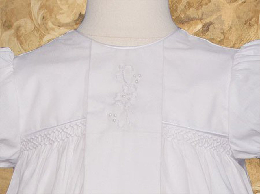 """Girls Cotton Victorian Style Christening Baptism Gown, 25"""" Length"""