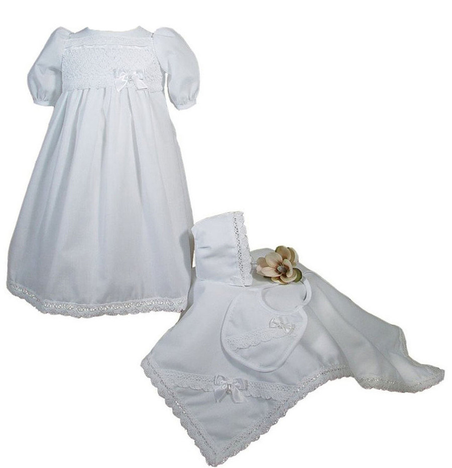 Girls Preemie Dress Christening Gown Baptism Set with Lace Hem