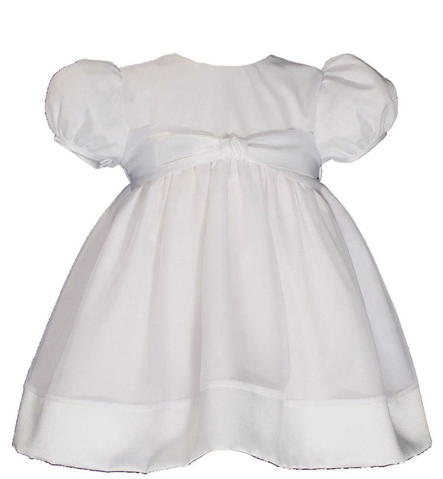 Girls Cotton Day-length Organza Dress Christening Gown Baptism Gown with Satin Hem