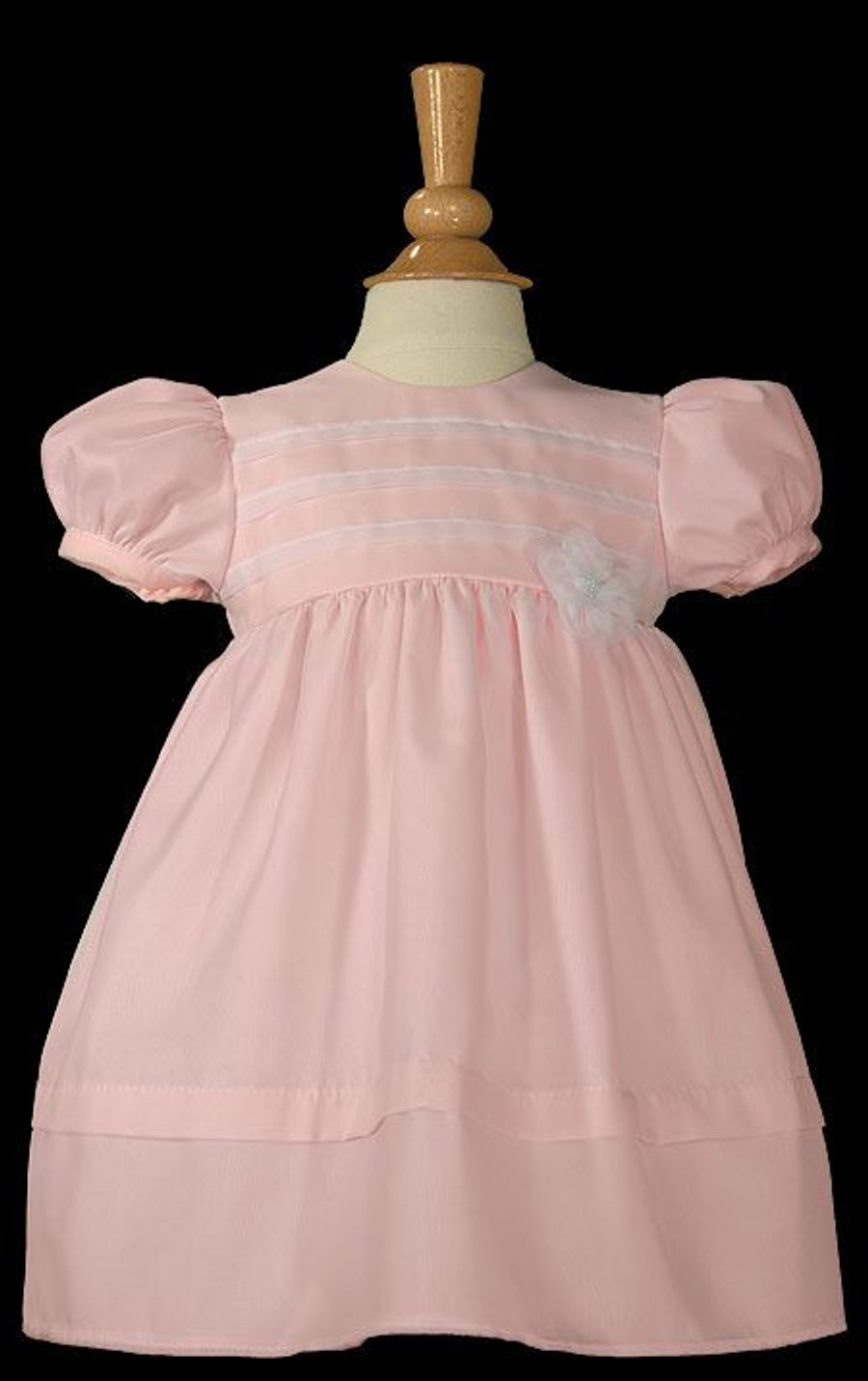 Pink Organza Overlay Christening Gown with Pin Tucking