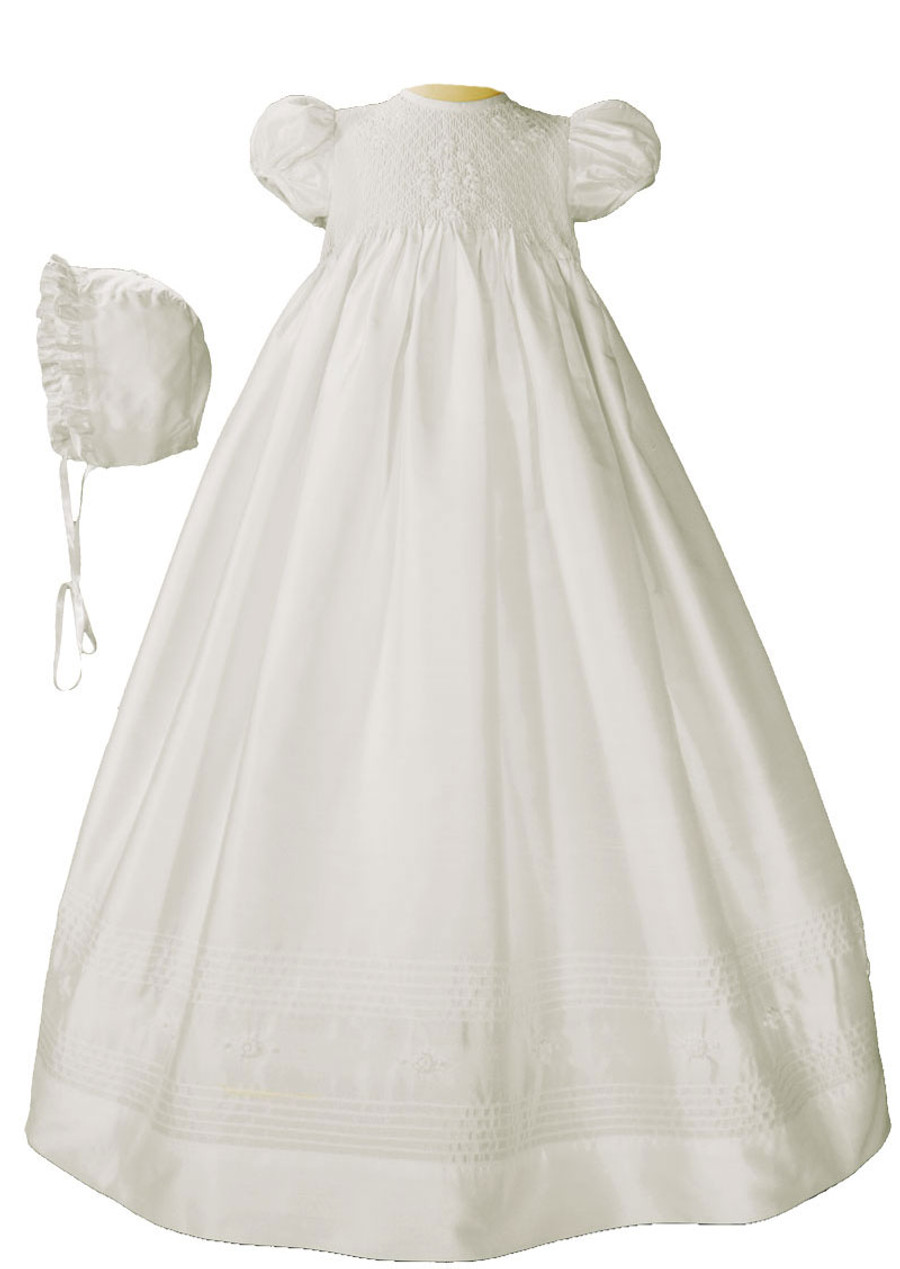 Girls White Silk Christening Baptism Gown with Smocked Bodice