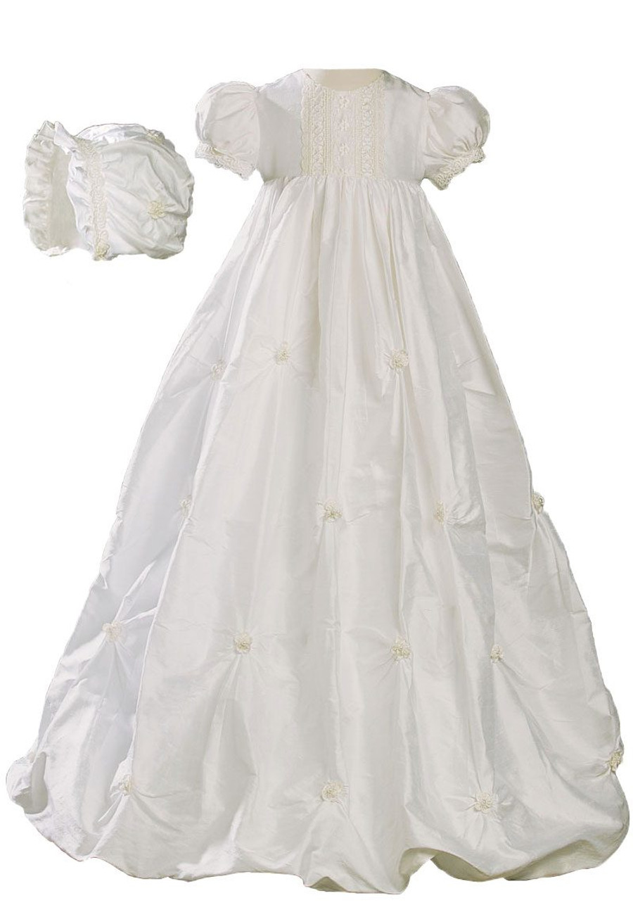 Girls Silk Dupioni Bubble Christening Baptism Gown with Natural Venise Lace and Rosettes