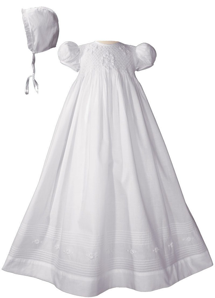 Hand Smocked Christening Gown Baptism Dress with Hand Embroidery