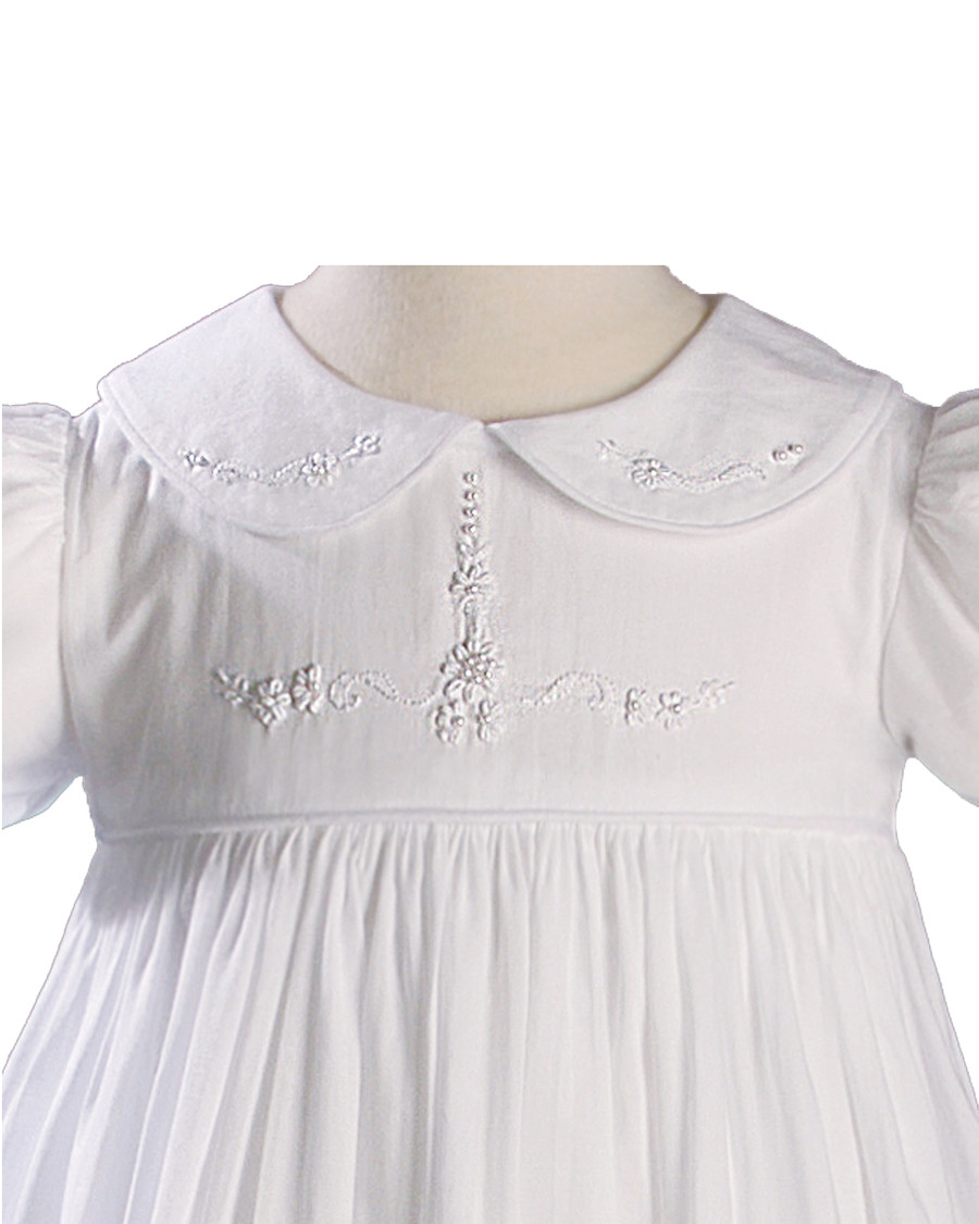 Short Sleeve Christening Gown with Hand Embroidery, Girls 33""