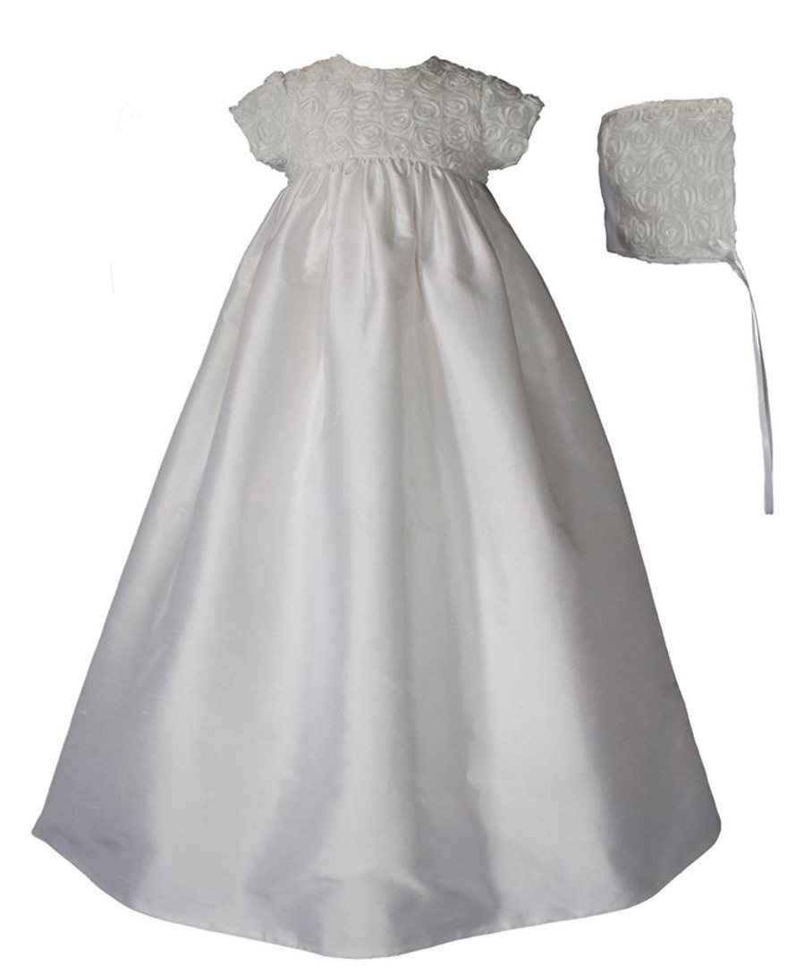 Girls Silk Dupioni Christening Gown with Rosette Bodice