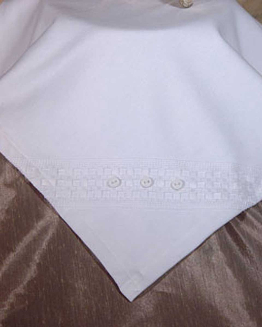 Elegant White Christening Receiver Blanket with Windowpane Trim and Buttons