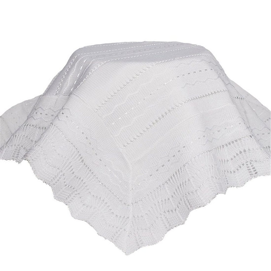 White Knit Baby Christening Shawl for Baptism