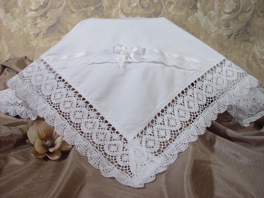 Girls Cotton Batiste Blanket with Cluny Trim
