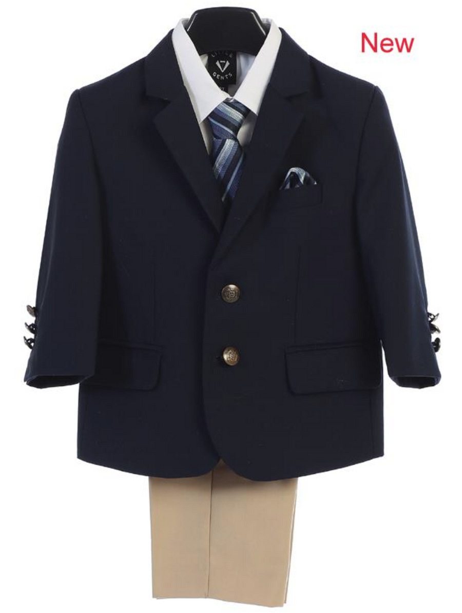 Boy's 4 Piece Suit - 2 Buttoned Navy Jacket, Khaki Pant