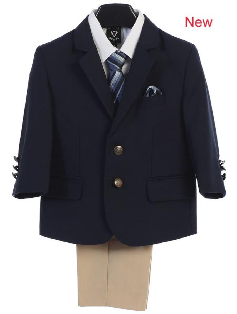 Boy's 4 Piece Suit - 2 Buttoned Navy Jacket, Khaki Pant