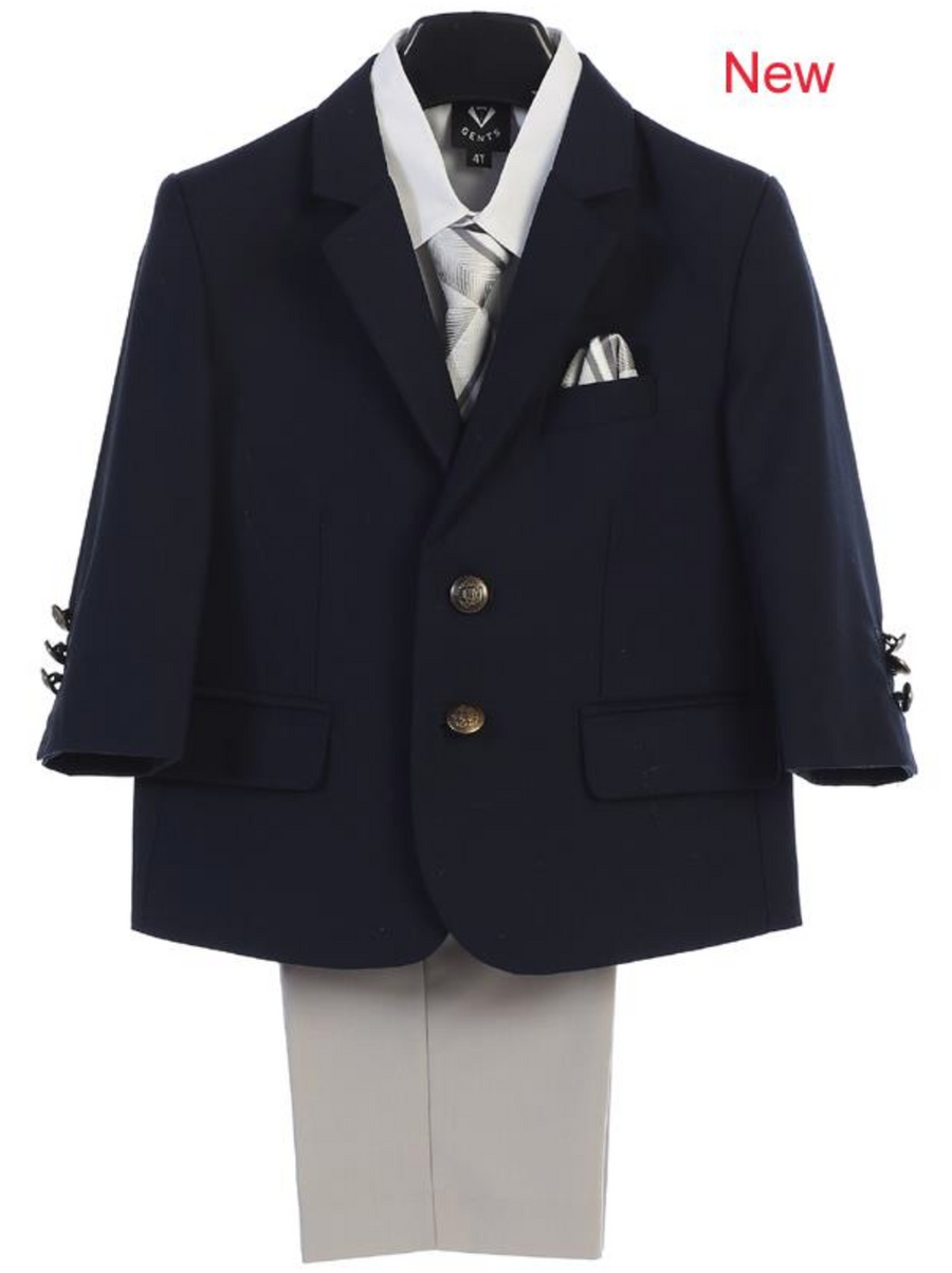 Boy's 4 Piece Suit - 2 Buttoned Navy Jacket and Light Gray Khaki Pants