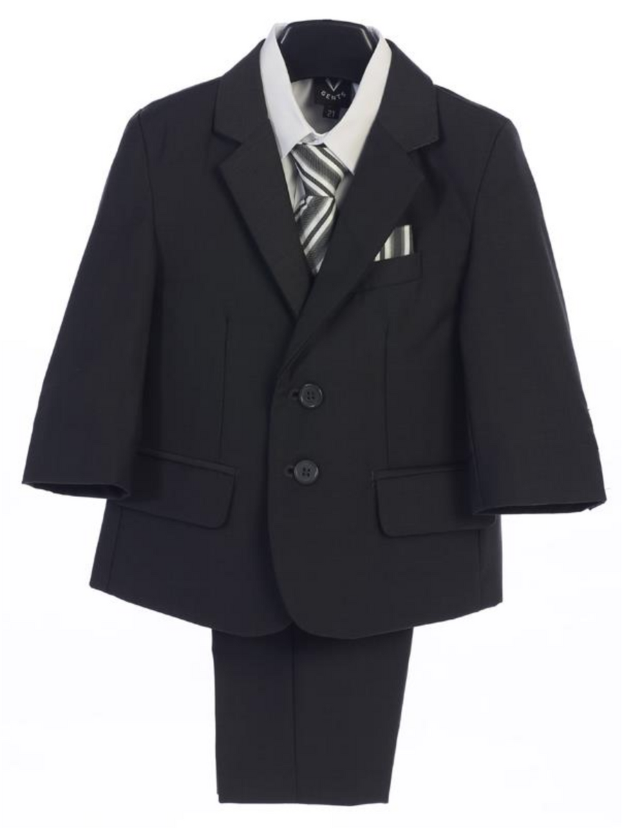 Boy's 5 Piece Suit - 2 Buttoned Dark Gray Jacket and Dark Gray Pants