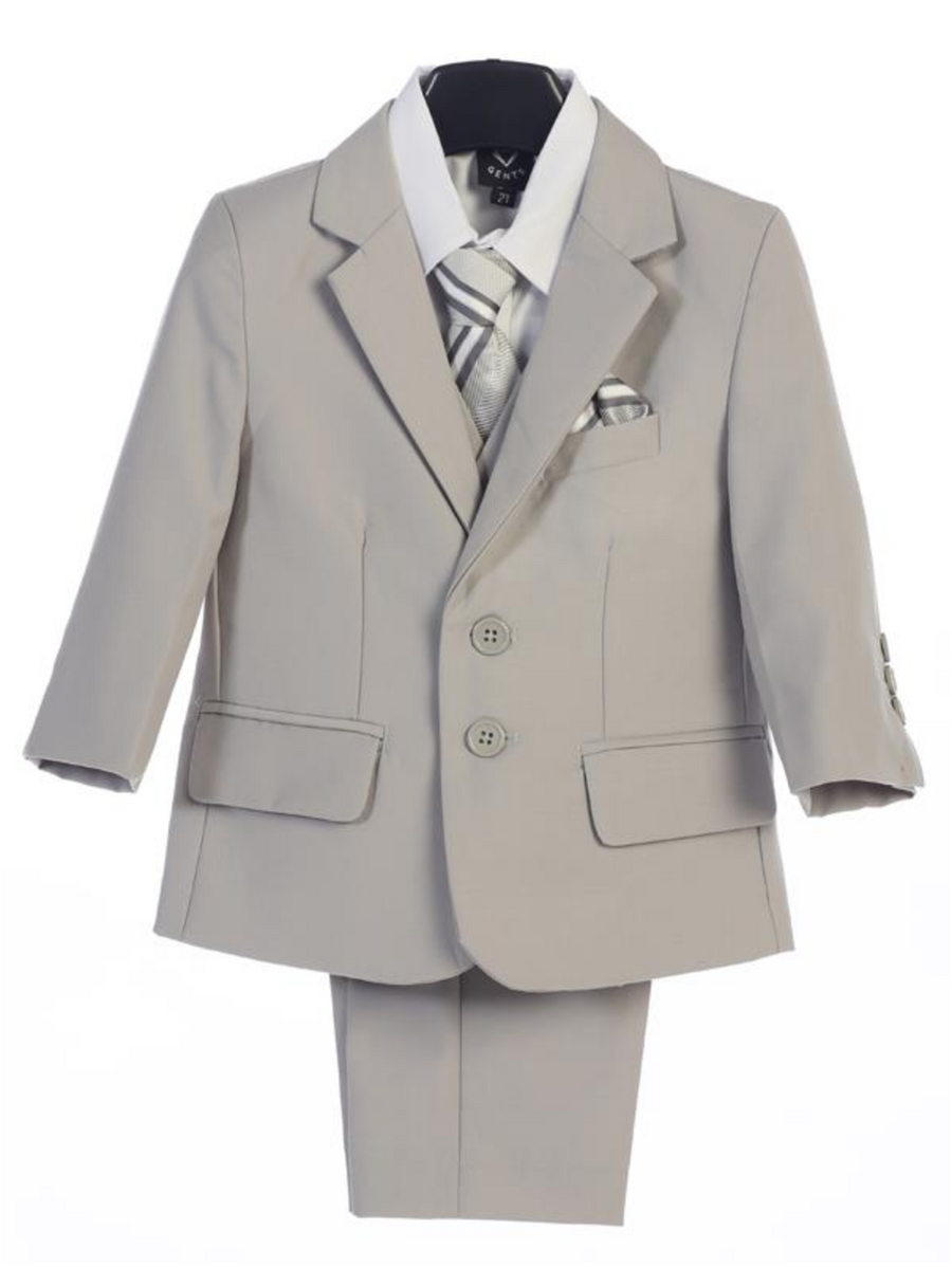 Boy's 5 Piece Suit - 2 Buttoned Light Gray Jacket and Pants
