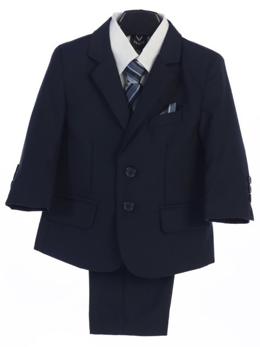 Boy's 5 Piece Suit - 2 Buttoned Navy Jacket and Pants