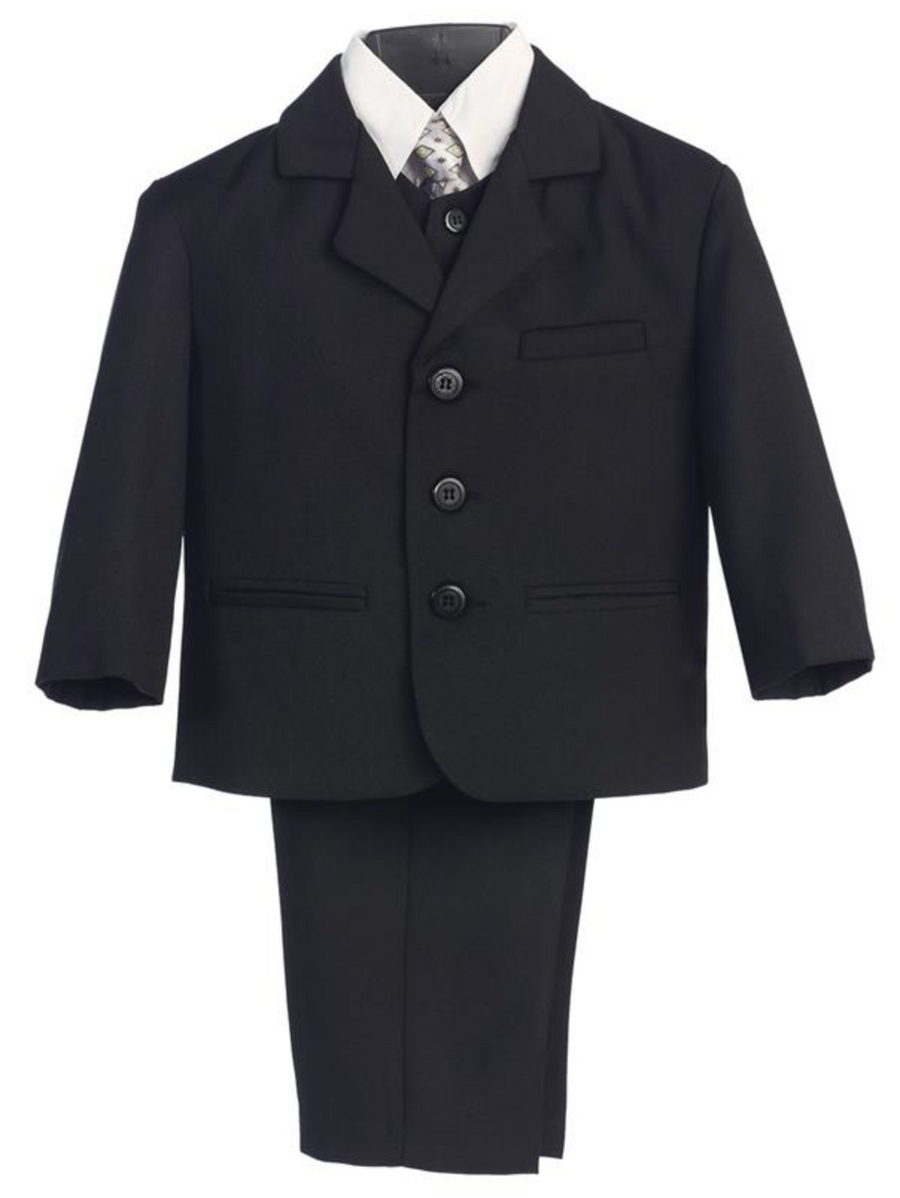 Boy's 5 Piece Suit - Buttoned Black Jacket and Pants