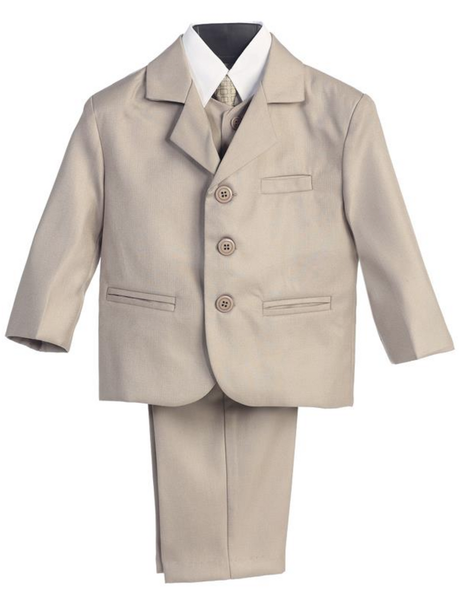 Boy's 5 Piece Suit - 3 Buttoned Khaki Jacket and Pants