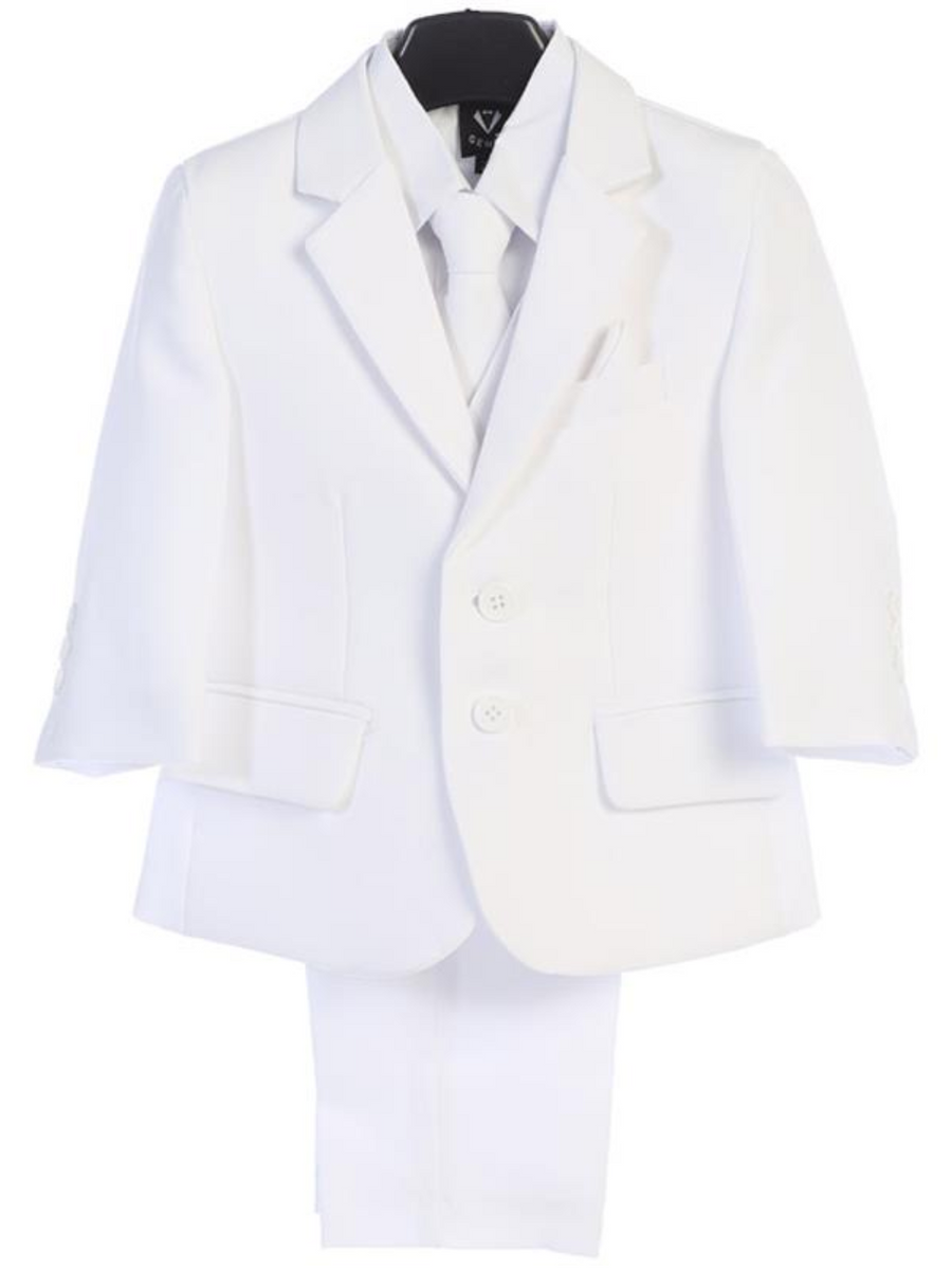 Boy's 5 Piece Suit - 2 Buttoned White Jacket and Pants (3585 White)
