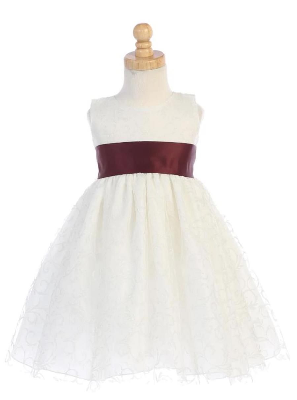 Burgundy Tulle Flower Girl Dress