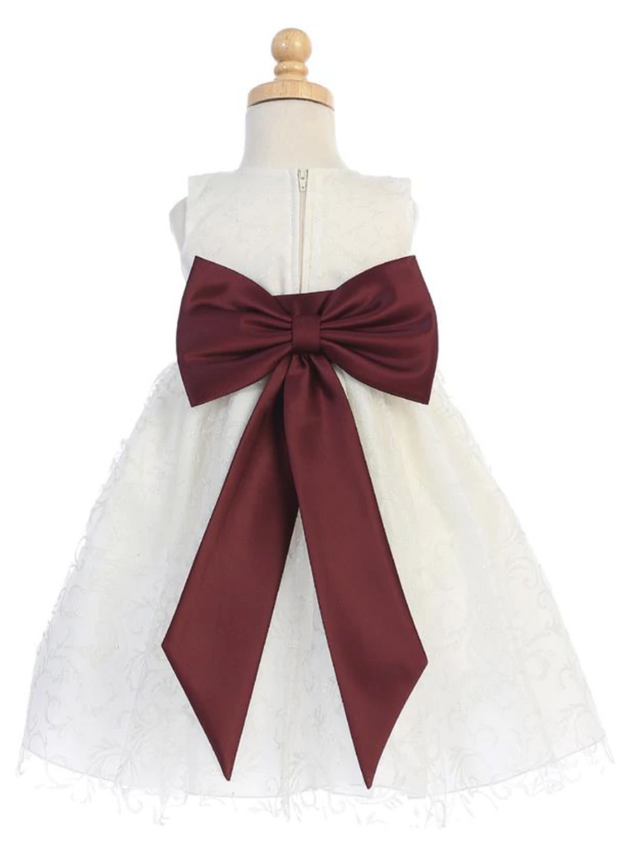 Girls-Ivory Glitter-Tulle-Dress-Burgundy-Bow-Sash