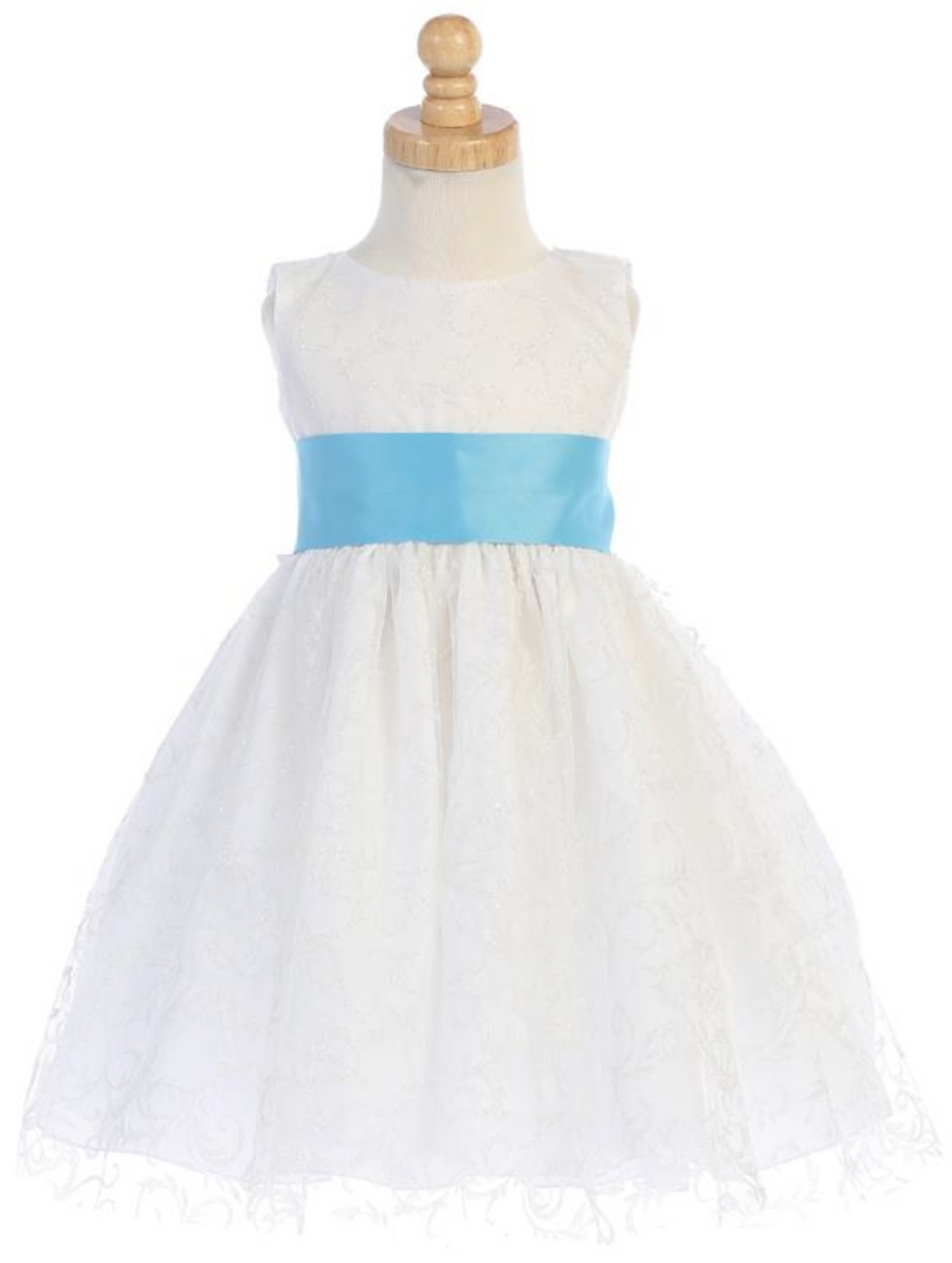 Girls-White-Ivory-Glitter-Tulle-Dress-Bow-Sash