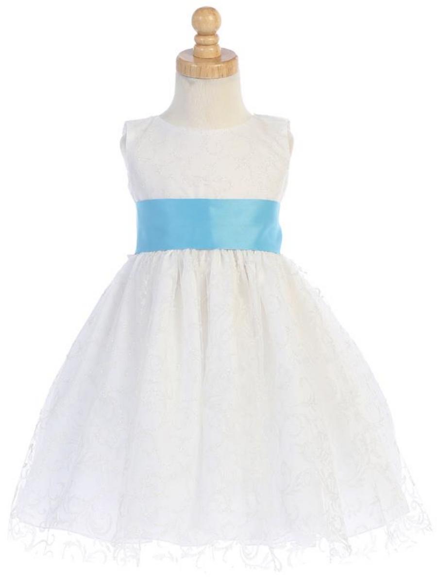 Girls-White-Ivory-Glitter-Tulle-Dress-Bow-Sash