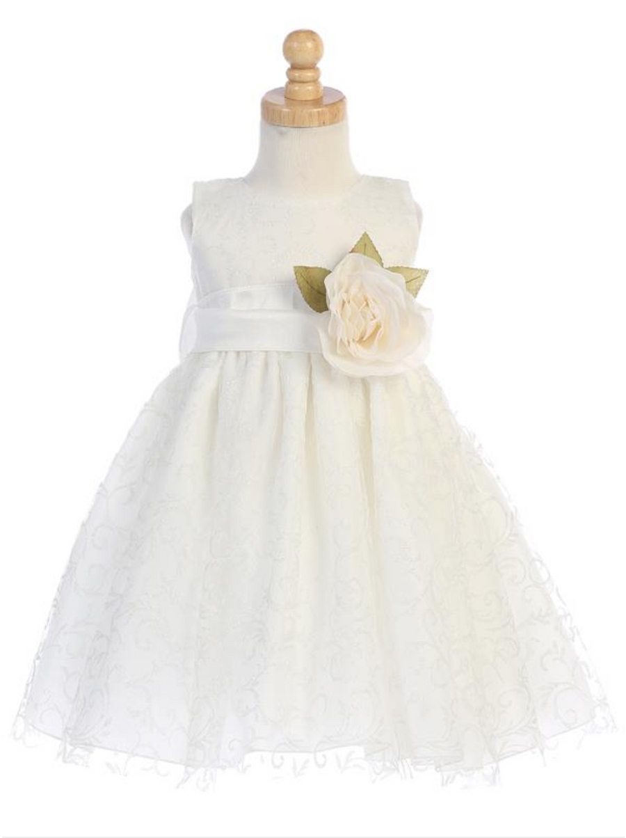 Girls White or Ivory Glitter Tulle Dress with Poly Silk Sash and Flower