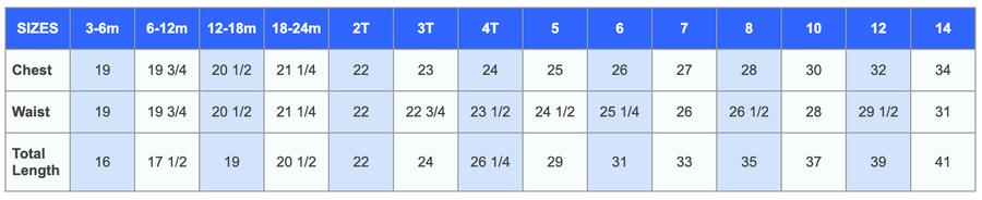 Blossom Dress Size Chart