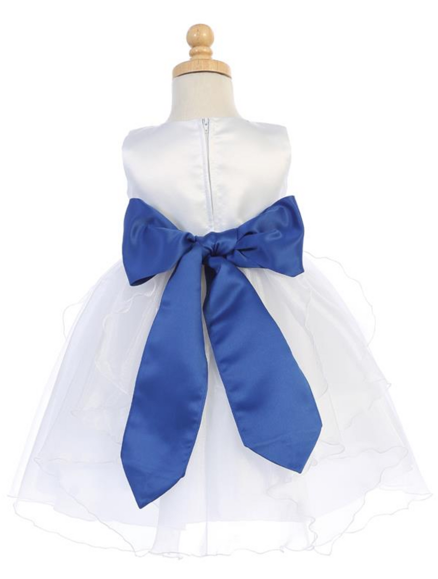 Girls White Satin and Crystal Organza Flower Dress with Big Bow