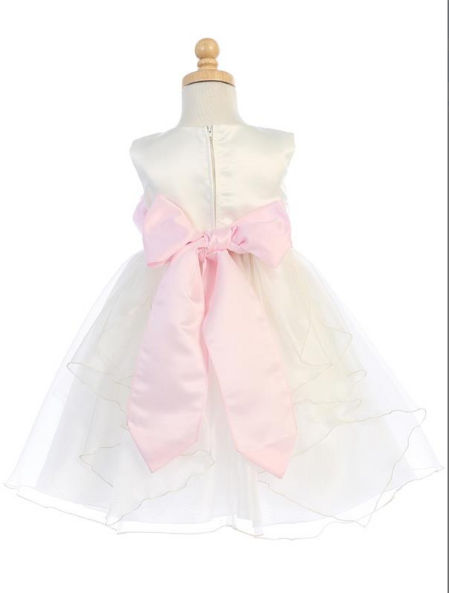 Girls Ivory Satin and Crystal Organza Flower Dress with Big Bow
