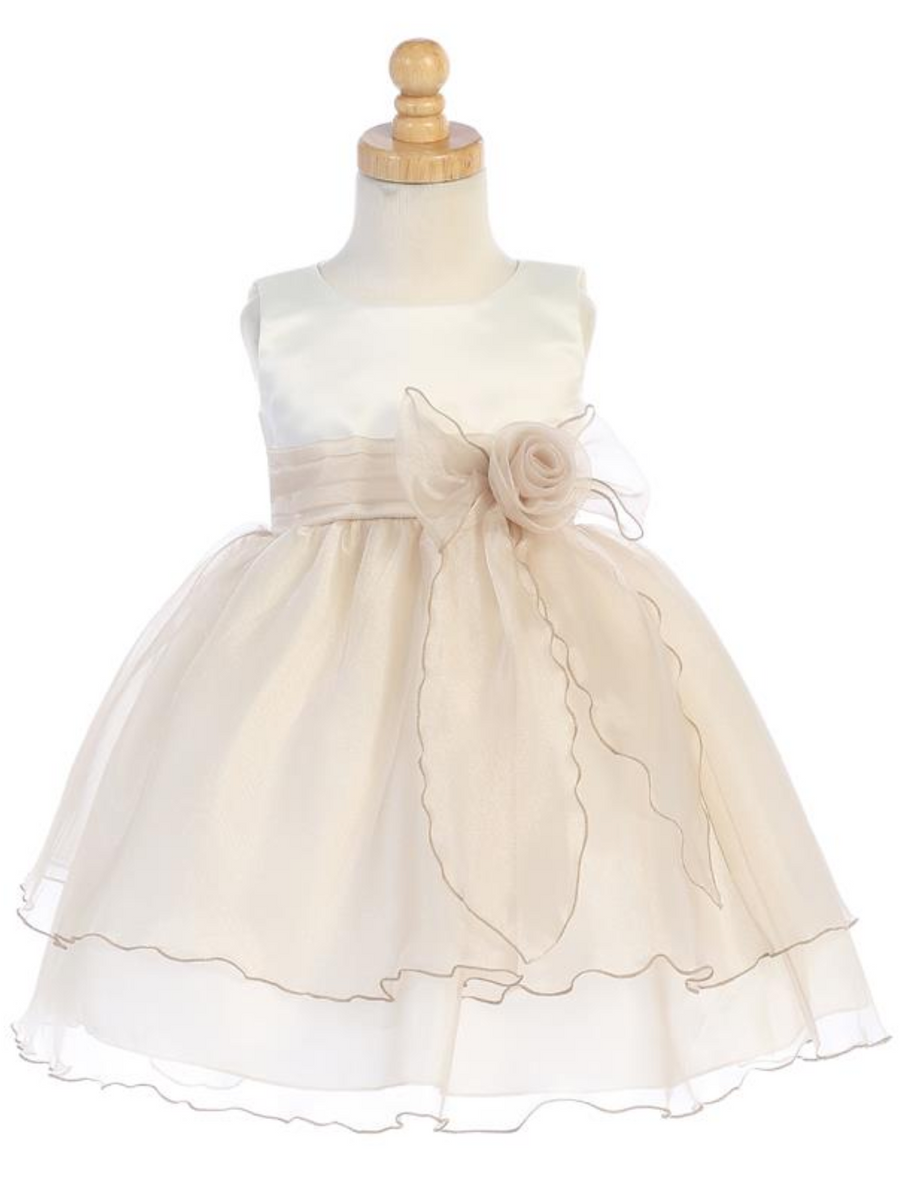 Girls Crystal Organza Dress with Flower and Bow