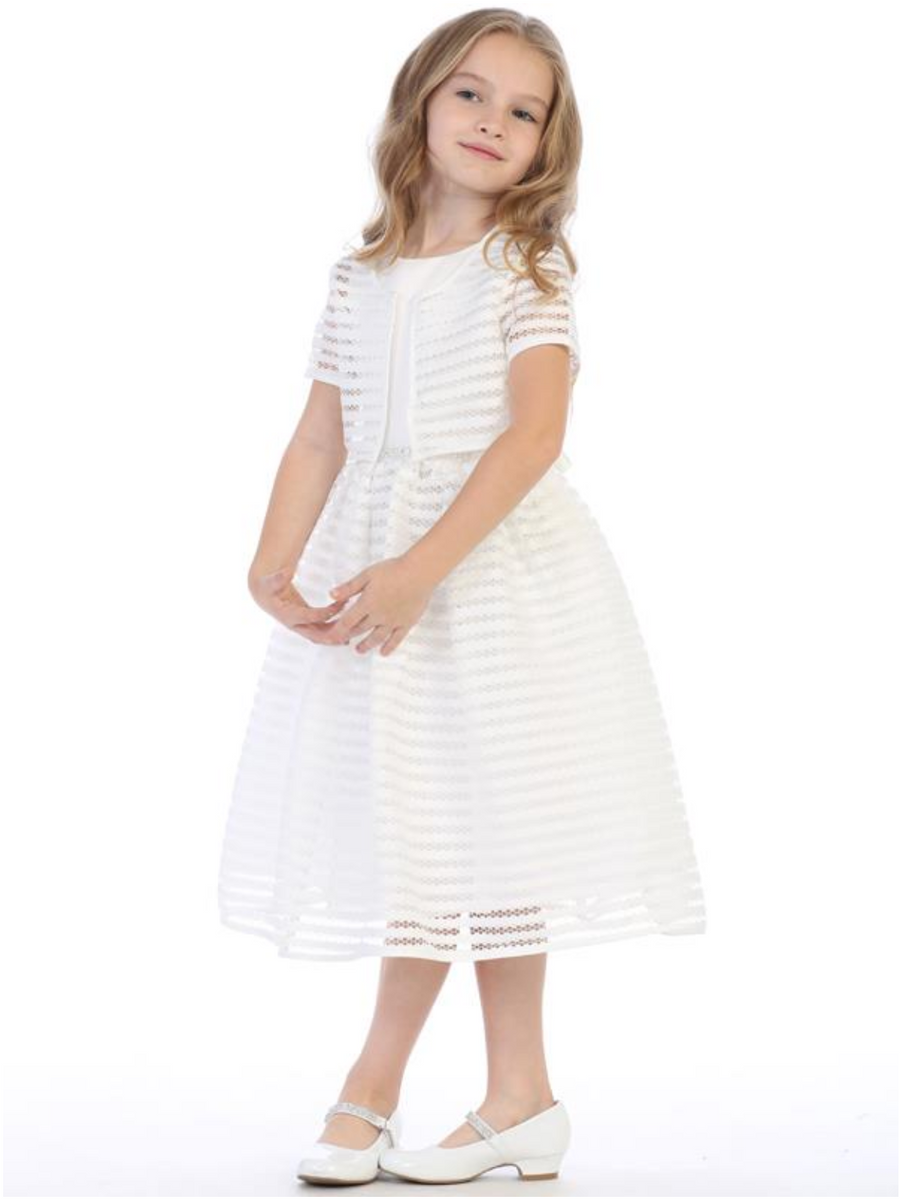 Girls Pink or Ivory Striped Netting Dress