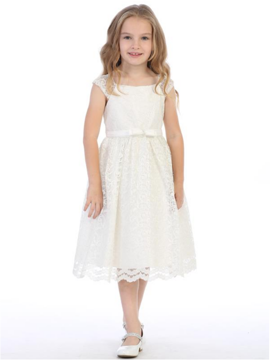 Girls Ivory Shiny Lace Dress