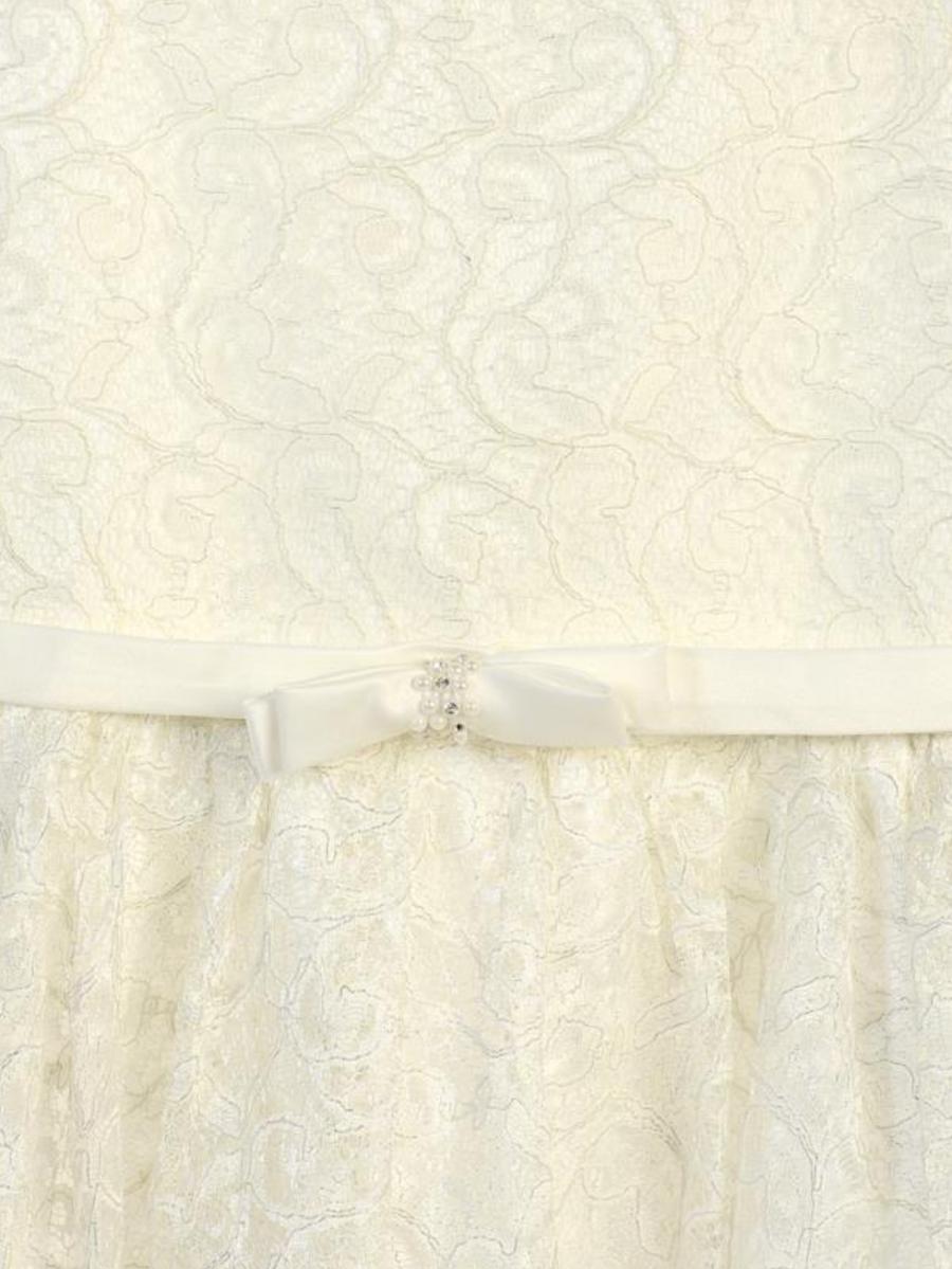 Girls Ivory Shiny Lace Dress