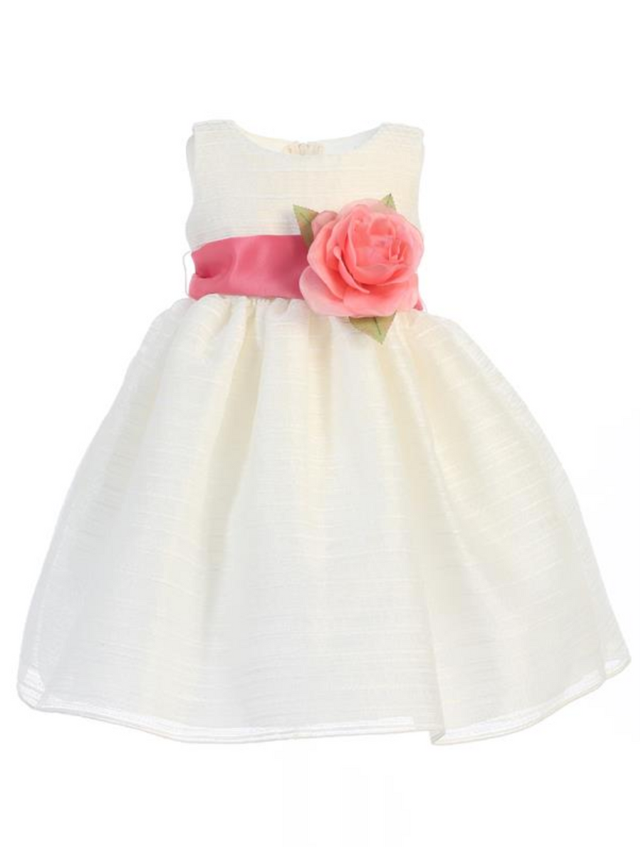 Girls White or Ivory Striped Organza with Flower Sash