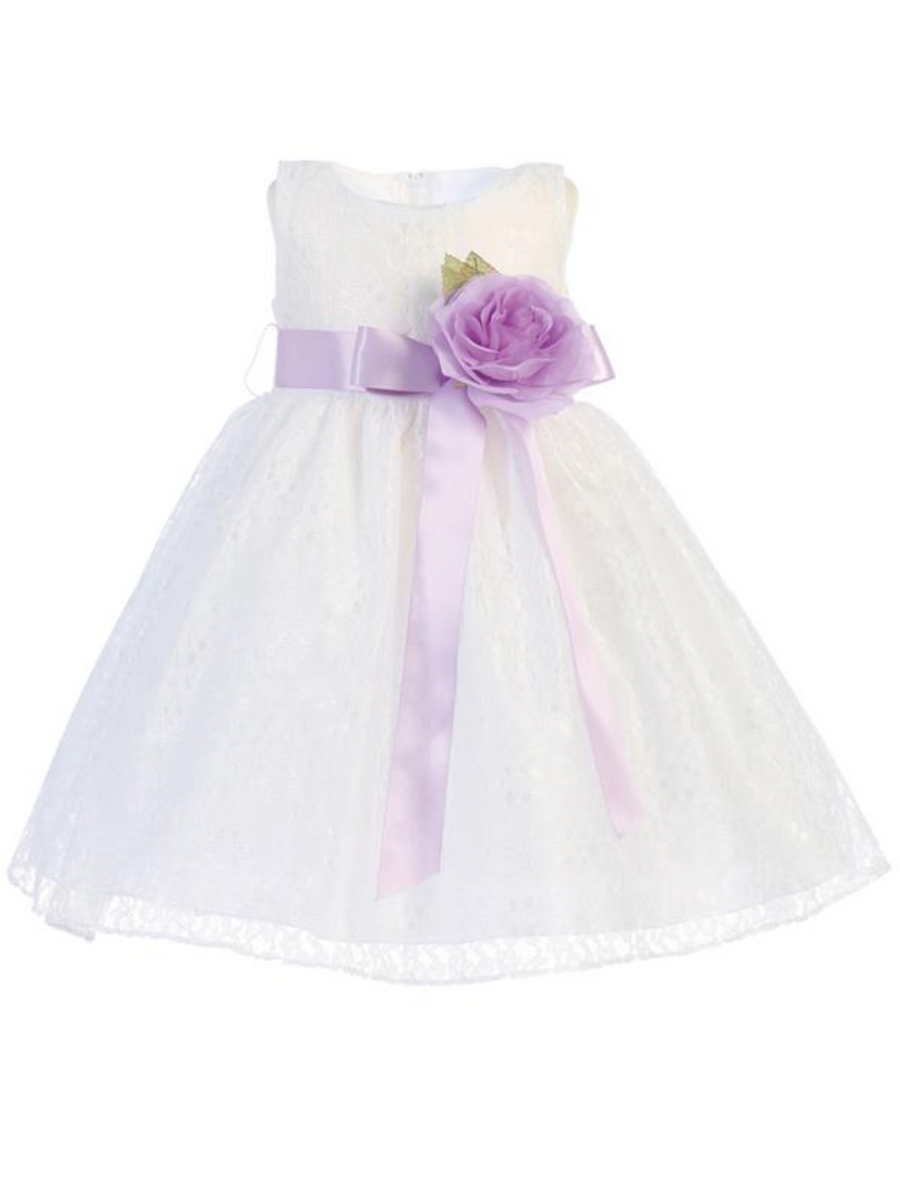 Girls White or Ivory Lace Dress with Flower Sash and Bow