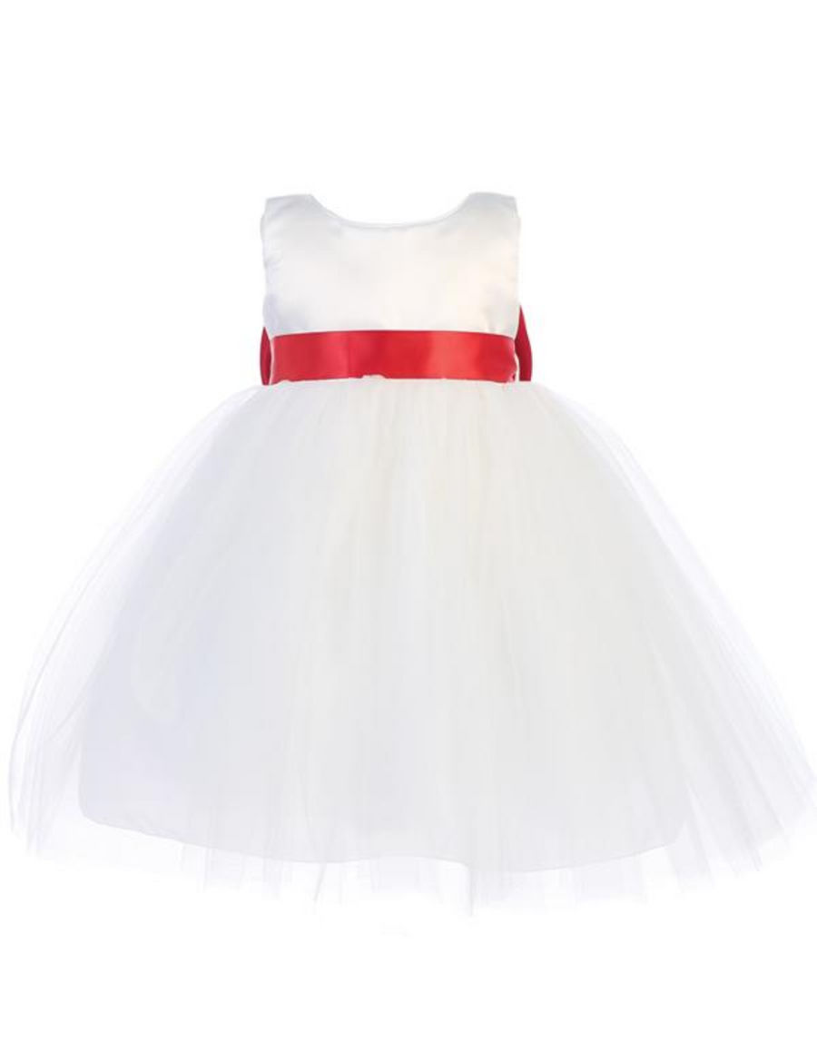 Girls White Satin and Tulle Dress with Sash and Bow in Back