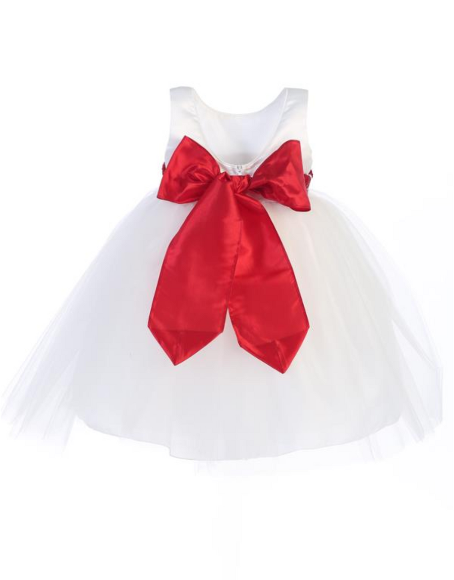 Girls White Satin and Tulle Dress with Sash Bow