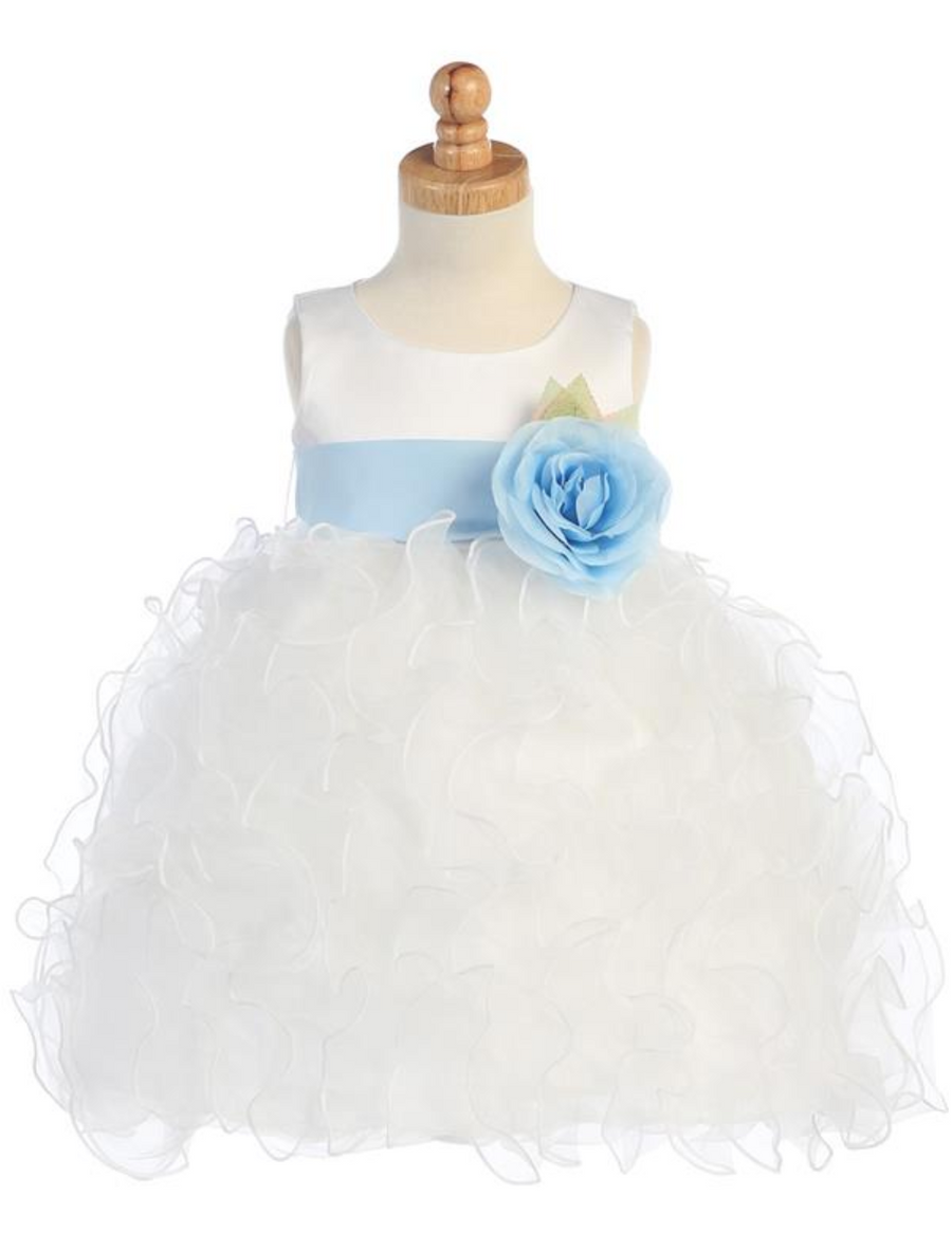 Girls Satin Bodice with Ruffled Organza Skirt and Flower Sash Bow