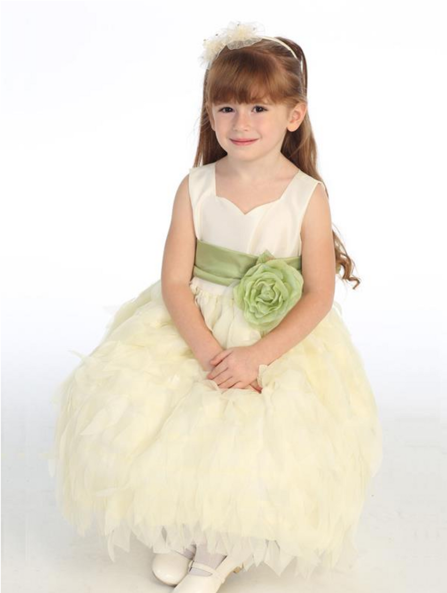Girls Ivory and White Taffeta and Chiffon Dress with Flower Sash and Bow in Back
