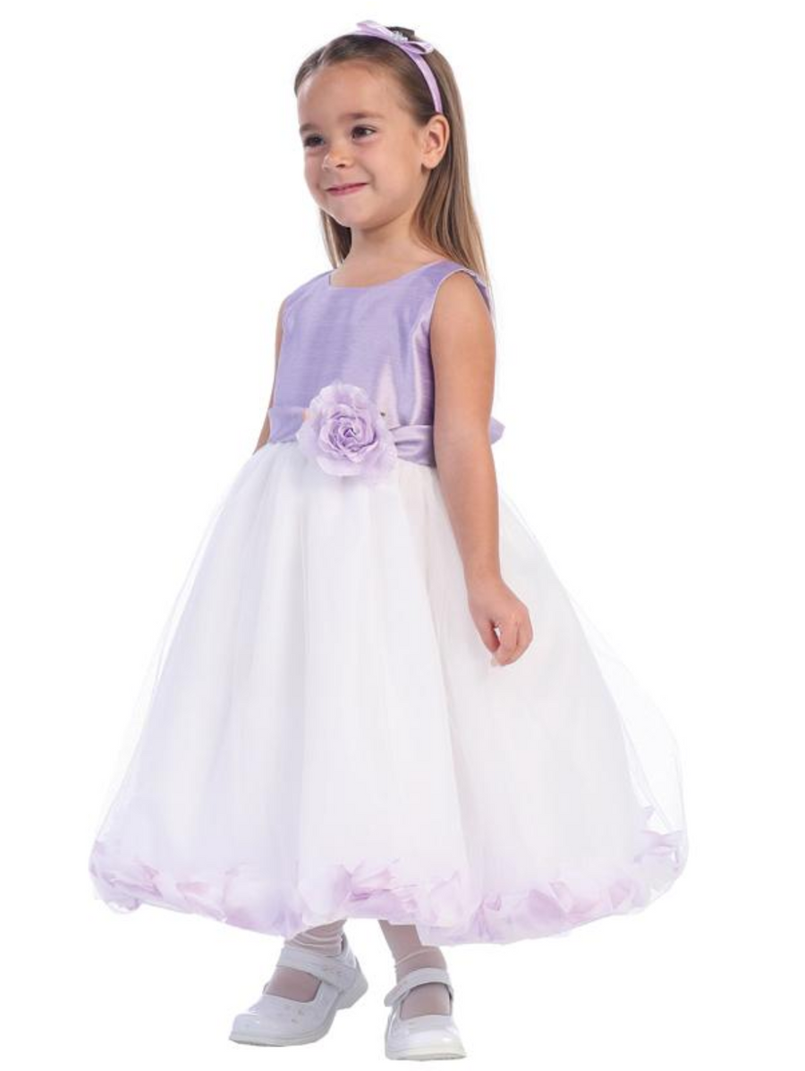 Girls Shantung Petal Dress Flower with Flower Sash