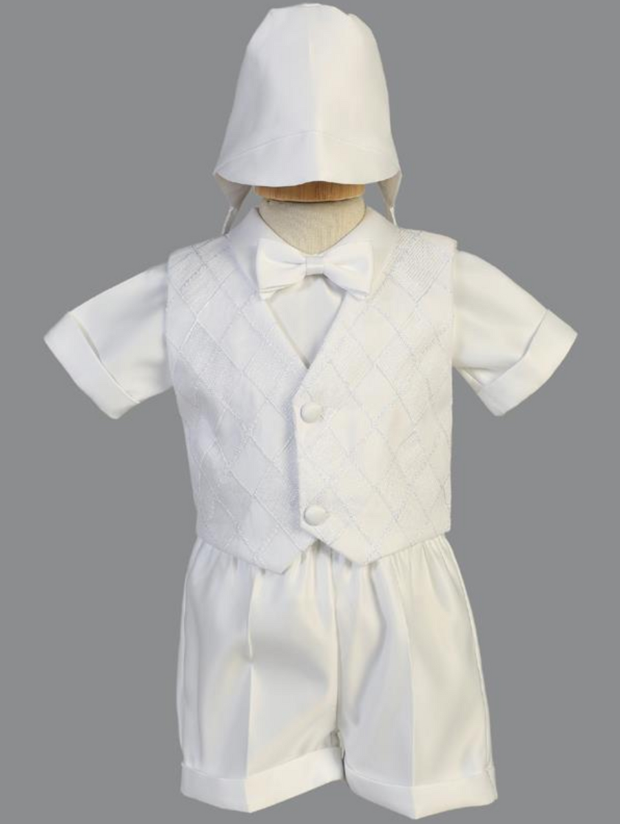 Boys White Christening Embroidered Organza Outfit