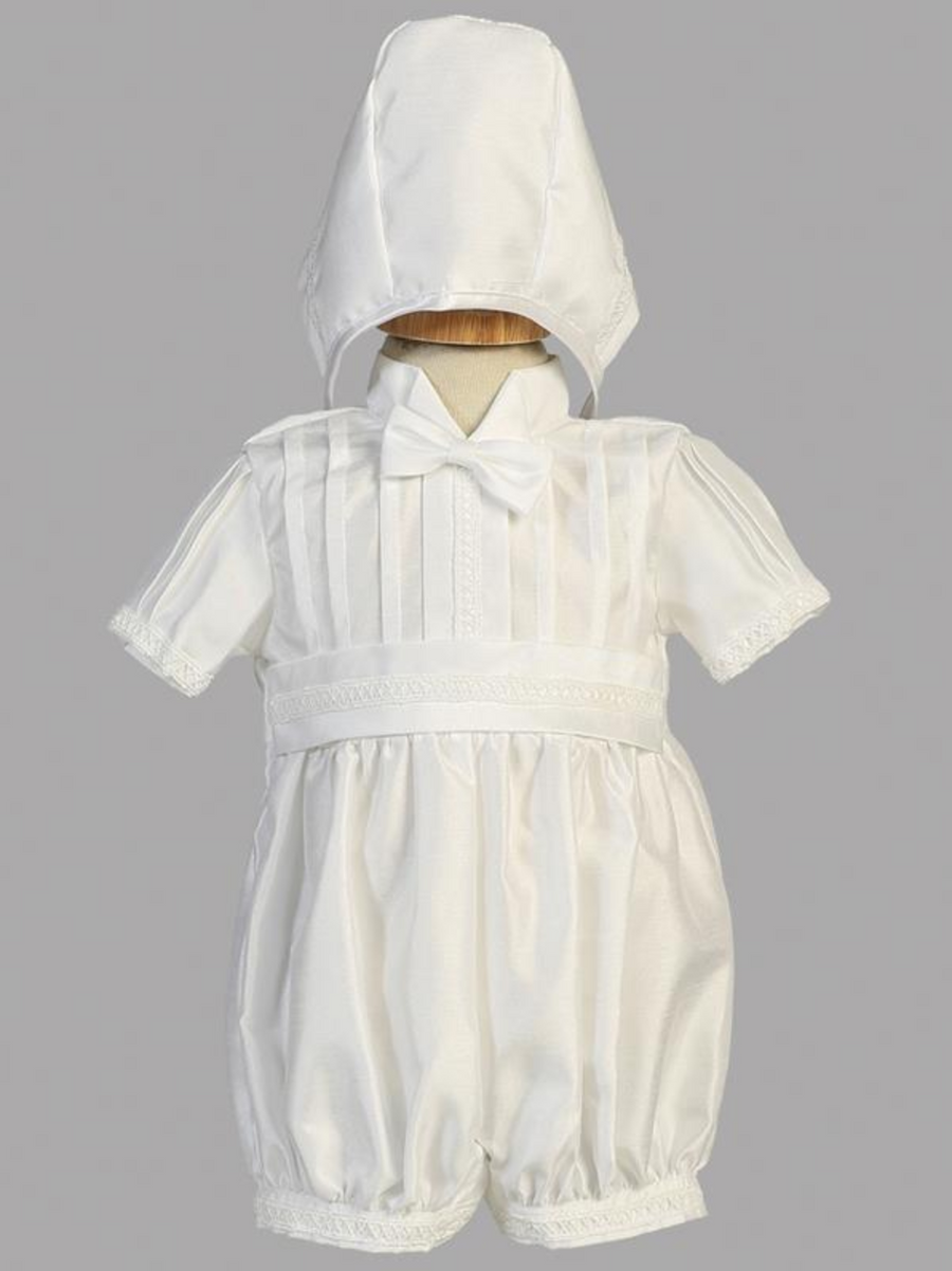 Boys White Christening Shantung Romper Outfit