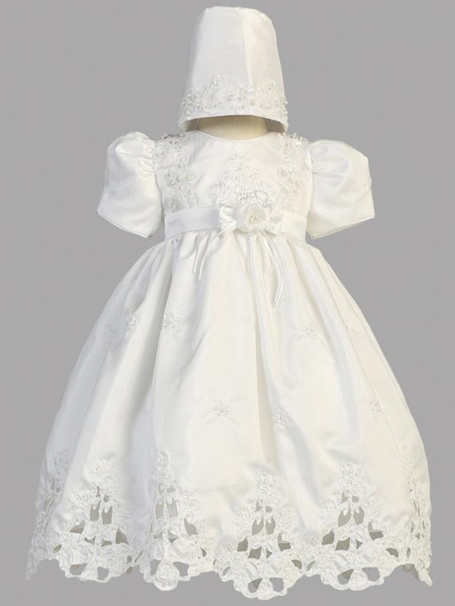 Girls White Christening Shantung Cutwork Gown