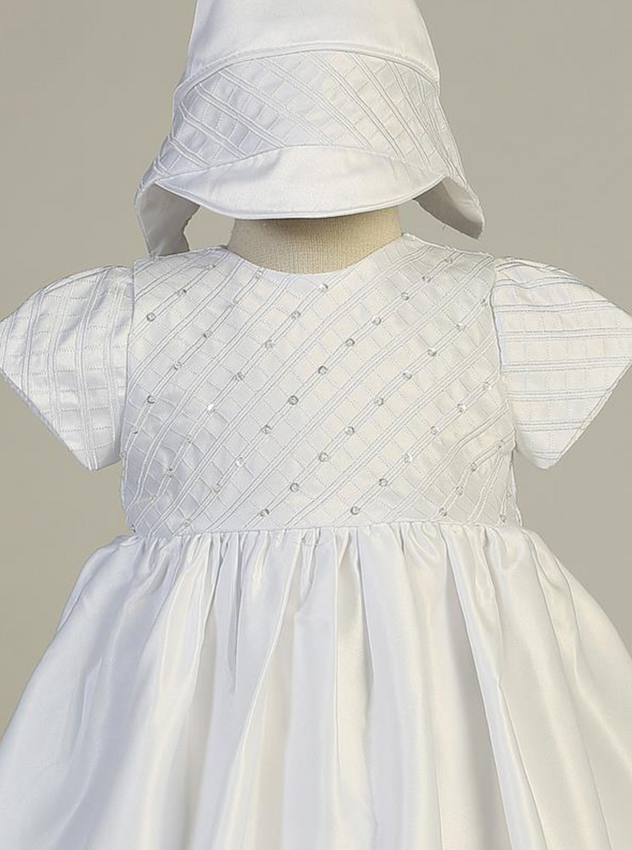 Girls White Embroidered Satin Christening Gown