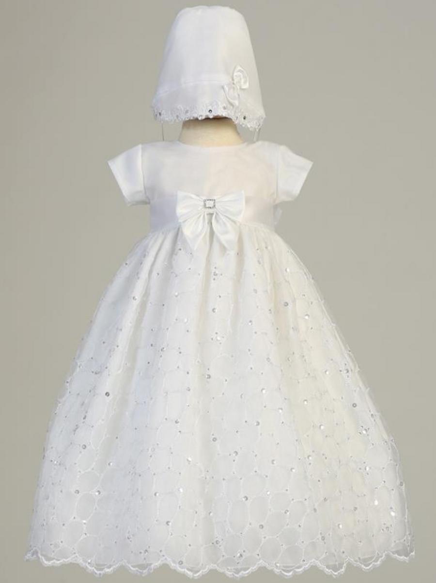 Girls Christening Embroidered Organza White Gown