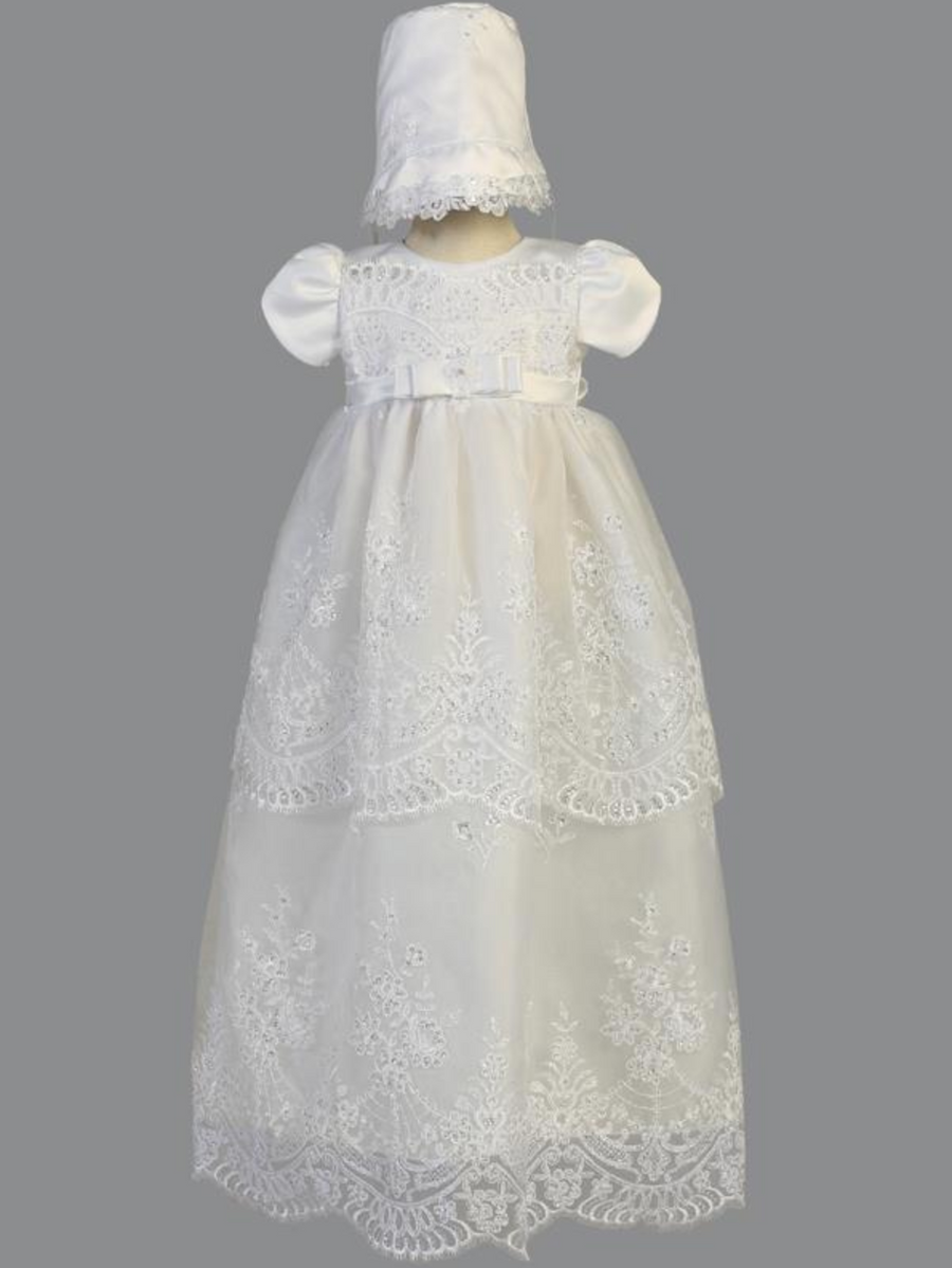 Girls White Embroidered Organza Christening Gown with Sequins