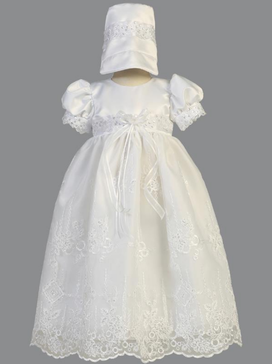 Girls White Satin and Embroidered Organza Christening Gown